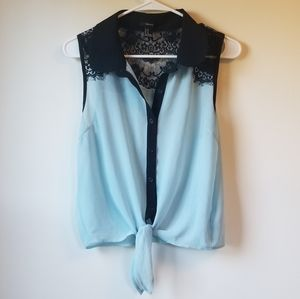 Forever 21 Mint Blue and Black Lace Top